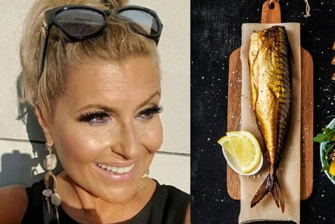 Kasia Skrzynecka zajada się rybnymi sałatkami